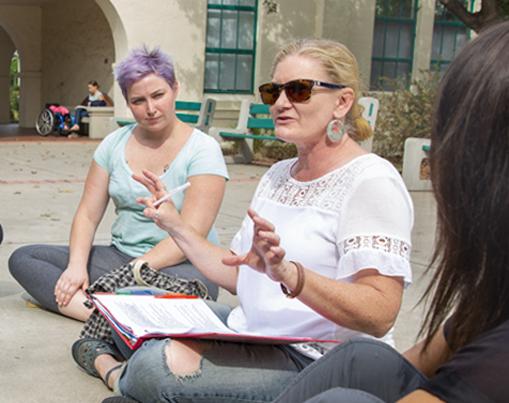 Professor teaching a small class in the Mediterranean Garden.